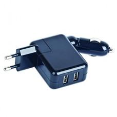 Зарядное устройство Gembird прикур. + 2хUSB до 1500мА от 220В/12В прикур., черное [MP3A-UC-ACCAR]