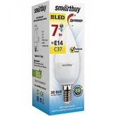 Лампа LED Smartbuy E14/C37 свеча, 7W, диммиремая, 3000K, 500Лм [SBL-C37D-07-30K-E14]