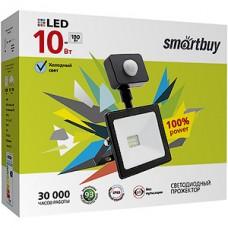 Прожектор LED  10W, 6500K, IP65, SMD, 800Лм, с датчиком движения, SmartBuy [SBL-FLSen-10-65K]