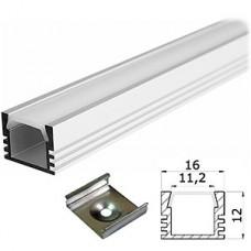 Профиль врезной 2000*16*12mm, комплект с экраном заглушками и креплениями, SmartBuy [SBL-Al16x12]