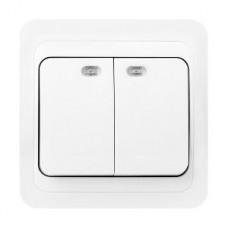 Выключатель с/у 2-кл 10А, с индикатором, SmartBuy