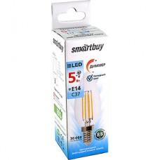 Лампа LED Smartbuy E14/C37 свеча,  5W, FILAMENT диммируемая, 4000K, 500Лм [SBL-C37DF-5-40K-E14]