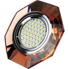 Светильник встраиваемый для ламп GU5.3/MR16, d65, ELVAN [8120 BN-SV] янтарный