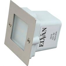 Светильник LED встраиваемый квадратный 2W/220В, 3000K, 70x70x55, IP44, металл, ELVAN [А025-(5901S)]