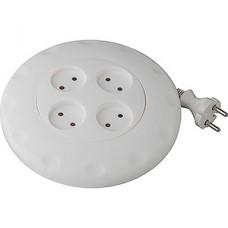 Удлинитель-рулетка  5м, 4 розетки, 2x0.75 без заземления, ЭРА [UR-4-5m-W] белый