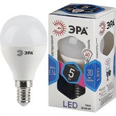 Лампа LED ЭРА E14/P45 шар,  5W, 4000K, 420Лм [LED smd P45-5W-840-E14]