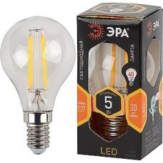 Лампа LED ЭРА E14/P45 шар,  5W, FILAMENT, 2700K, 400Лм [F-LED P45-5W-827-E14]