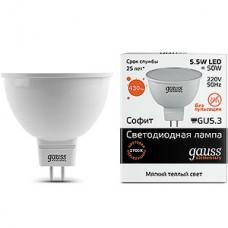 Лампа LED Gauss Elementary GU5.3/MR16 софит, 5.5W, 2700K, 430Лм [13516]