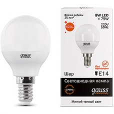 Лампа LED Gauss Elementary E14/G45 шар,  8W, 2700K, 520Лм [53118]