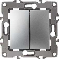 Выключатель с/у 2-кл 10А, ЭРА12 [12-1104-03][10] алюминий