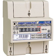 Счетчик электроэнергии 1-фазный 1-тарифный Энергомера CE101 R5 145 M6, 5-60A 220В, 1.0, DIN