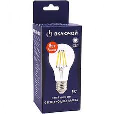 Лампа LED Включай E27/A60 груша,  8W, FILAMENT, 3000K, 750Лм [LED OPTI FLM-A60-8W-E27-N]