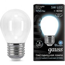 Лампа LED Gauss E27/G45 шар, 5W, FILAMENT матовая, 4100K, 450Лм [105202205]