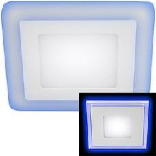 Светильник встраиваемый квадратный,  4W+2W, 4000К, 360Лм, 130/75, ЭРА [LED 4-6 BL] с синей подсв.