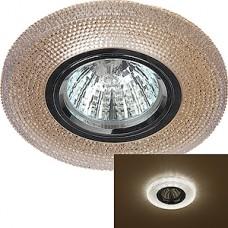 Светильник встраиваемый для ламп GU5.3/MR16, d100/65, с LED подсв., ЭРА [DK LD1 BR] коричневый