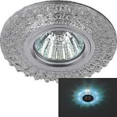 Светильник встраиваемый для ламп GU5.3/MR16, d100/60, с LED подсв., ЭРА [DK LD2 SL/BL+WH] прозрачный