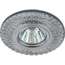 Светильник встраиваемый для ламп GU5.3/MR16, d100/60, с LED подсв., ЭРА [DK LD3 SL/WH] прозрачный