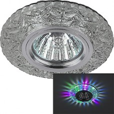 Светильник встраиваемый для ламп GU5.3/MR16, d100/60, с LED подсв., ЭРА [DK LD4 SL/RGB] прозрачный