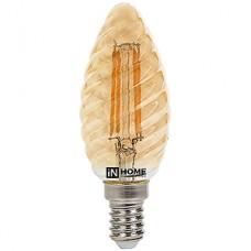 Лампа LED IN HOME E14/C37 свеча витая-deco золотистая FILAMENT, 7W, 3000K, 630Лм [016.2514]