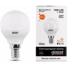 Лампа LED Gauss Elementary E14/G45 шар, 10W, 2700K, 880Лм [53110]