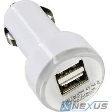 Зарядное устройство 2хUSB 2.1А от авто 12В, тип1 [05199] белое