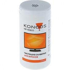 Салфетки чистящие влажные Konoos KBF-100ECO для ЖК-экранов в банке 100 шт. [12]