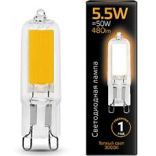 Лампа LED Gauss G9/220В, 5.5W, 3000K, 480Лм, стекло [107809105]
