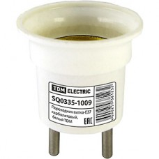 Переходник электрический вилка-Е27 карболитовый 220В, белый TDM [SQ0335-1009]