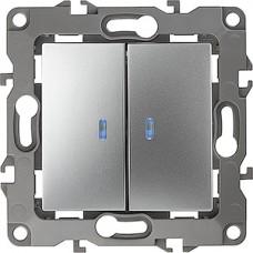 Выключатель с/у 2-кл 10А, с подсветкой, ЭРА12 [12-1105-03][10] алюминий