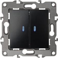 Выключатель с/у 2-кл 10А, с подсветкой, ЭРА12 [12-1105-06][10] черный
