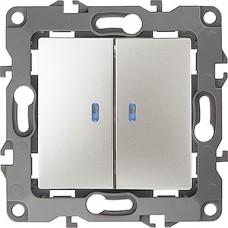 Выключатель с/у 2-кл 10А, с подсветкой, ЭРА12 [12-1105-15][10] перламутр