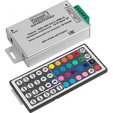 Контроллер ленты LED RGB, 12/24В, 3*6А, радио пульт 44 кнопки, 128*64*34, GL [GDC-RGB-216-R-IP20-12]