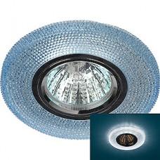 Светильник встраиваемый для ламп GU5.3/MR16, d100/65, с LED подсв., ЭРА [DK LD1 BL] синий