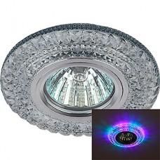 Светильник встраиваемый для ламп GU5.3/MR16, d100/65, с LED подсв., ЭРА [DK LD3 SL/RGB] прозрачный