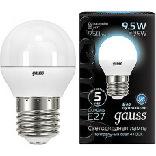 Лампа LED Gauss E27/G45 шар, 9.5W, 4100K, 950Лм [105102210]
