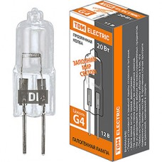 Лампа галогеновая 20W G4 12В, TDM [SQ0341-0046]
