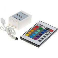 Контроллер ленты LED RGB, 12/24В, 3*2А, ИК пульт 24кн, 64*34.5*22.5, GL [GDC-RGB-80-I-IP20-12]