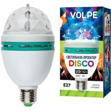 Диско-лампа E27, вращающиеся многоцветные огни, VOLPE [ULI-Q301 03W/RGB/E27 WHITE]