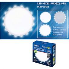 Лампа LED Uniel GX53, 7W, 4000K с торцевой подсв., 500Лм [LED-GX53-7W/4000K+4000K/GX53/FR PLB02WH]