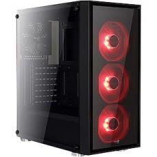 Корпус без б/п Aerocool Quartz Red (3xUSB, 2xAudio, 0.5 мм, 4x120 мм FAN, прозрачная стенка)