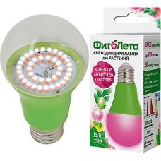 Лампа LED ФИТО Uniel E27/A60 груша, 15W, 16 мкмоль/с, RB спектр [LED-A60-15W/SPSB/E27/CL PLP30GR]