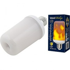 Лампа LED Uniel E27/L60 цилиндр,  6W, с эффектом пламени [LED-L60-6W/FLAME/E27/FR PLD01WH]