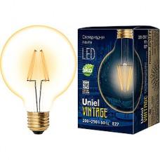Лампа LED Uniel E27/G95 шар GOLDEN,  6W, 510Лм [LED-G95-6W/GOLDEN/E27 GLV21GO]