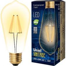 Лампа LED Uniel E27/ST64 конус GOLDEN,  5W, 450Лм [LED-ST64-5W/GOLDEN/E27 GLV22GO]