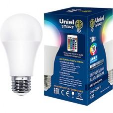 Лампа LED Uniel E27/A60 груша, 10W, RGB от ИК пульта (н/к), 800Лм [LED-A60-10W/RGB/E27/REG PLS21WH]