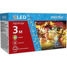 Гирлянда Бахрома Ш:3*В:0.5м, прозр., LED-80-220V, контр. 8р, RGB, Smartbuy [SB-RGBБАХ-3m]