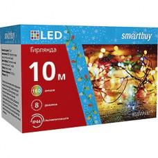 Гирлянда уличная Нить 10м, прозр., LED-160-220V, контр. 8р, RGB, Smartbuy [SB-RGBIP44-10m]