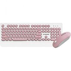 Беспроводной набор Jet.A SMART LINE KM39 W Pink, белый-розовый, USB